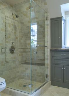 Gray Cabinets. Consider this tan/gray combo tile in shower (without accent pieces) Potential for basement bath