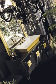 Topex Armadi Art Black & Gold Glass Fiaba Bath Vanity From Our Avantgarde Collection! Black Bath, Gold Glass, Bath Vanities, Washroom, Buffets, Dream Job, Black Gold, Counter, Tables