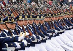 Officers and cadets of Chile's Manuel Ávalos Prado Air Force Academy marching through O'Higgins Park in Santiago at the 2012 Chilean Army Day Parade.