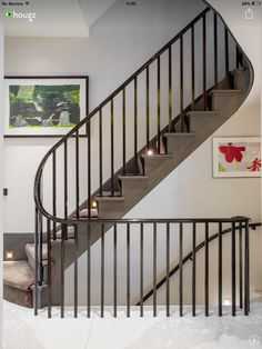 House in Belgravia - contemporary - Staircase - London - TLA Studio Metal Stair Railing, Stair Spindles, Staircase Handrail, New Staircase, Wrought Iron Stairs, Entry Stairs, Loft Stairs, Curved Staircase, House Stairs