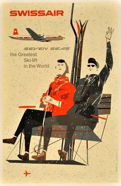 Original Vintage Posters -> Sport Posters -> Skiing - Swissair - AntikBar