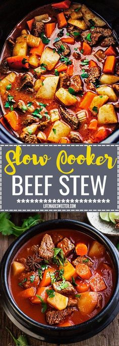 Slow Cooker Homemade Beef Stew makes the perfect comforting dish on a cold day. Best of all, it's easy to make and simmers in the crock-pot for the most tender meat with carrots, potatoes, sweet potatoes and celery.So delicious and flavorful!