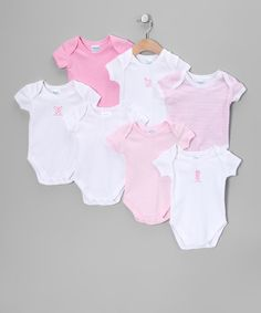 Take a look at this Pink & White Bodysuit Set by SpaSilk on #zulily today! $14.99 for all of these!