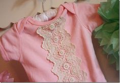 A little bit of vintage lace is all that Melanie from The Crafty Cupboard need to take a plain pink onesie and make it swoon-worthy cute. This would make the sweetest baby gift! Read more at The… Source by Clothing girl Baby Sewing Projects, Sewing For Kids, Baby Kind, Vintage Lace, Kind Mode, Refashion, Diy Clothes, New Baby Products, Kids Fashion