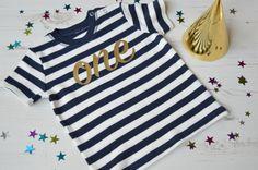 Navy Stripy 1st Birthday Outfit  Baby Girl 1st Birthday