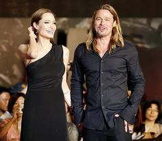 """Angelina Jolie and Brad Pitt at the premiere of """"World War Z"""" in Tokyo, Japan on July 29, 2013."""