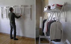 """Hang IKEA chairs on the wall. They're out of the way when folded up, available as extra seating for parties, and fold out to be a temporary """"closet"""" for guests staying the night."""