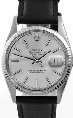 This classy men's pre-owned Rolex Datejust watch features a stainless steel case with a white gold fluted bezel and brand new black leather strap. The combination of the specifications gives this vint