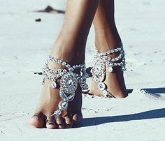 Jewelled Silver Barefoot Sandals, Women's flat sole-less sandals, Beach Wedding Shoes, Jewelry, Jewellery, Pair: Enchanted