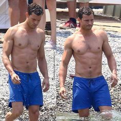 Christian takes a dip in the Mediterranean. . Jamie embodies our beloved Mr. Grey in cool blue trunks complete with burn scars scattering his chest. . #jamiedornan #FiftyShadesFreed