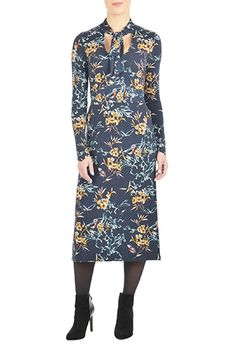 I <3 this Floral jersey tie neck dress from eShakti