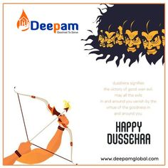 A time for celebration, A time for Victory of good over bad, A time when word see the example of power of good. Let us continue the same true spirit.Happy Dussehra!! #HappyDussehra #Dussehra #DurgaPuja #Ravan #Navratri #DussehraFestival #Festival #FestivalsOfIndia #Ram #VijayaDashami #DeepamGlobal www.deepamglobal.com Festivals Of India, Durga Puja, Victorious, Celebration, Spirit, Let It Be, Words, Happy, Movie Posters