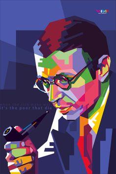 Jean-Paul Sartre in Wedha's Pop Art Portrait