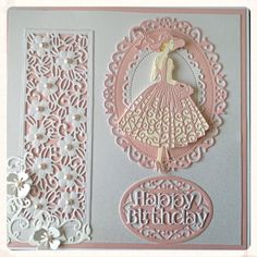 Pinned from Pin It for iPhone Art Deco Cards, Tattered Lace Cards, Lace Art, Dress Card, Die Cut Cards, Pretty Cards, Punch Art, Craft Work, Greeting Cards Handmade