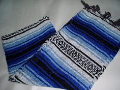 """AUTHENTIC MEXICAN FALSA BLANKET 1/2 BLANKET TABLE RUNNER 26 """" X 72"""" BLUES NWT #MOLINA"""