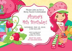 Strawberry shortcake birthday party invitation free thank you card strawberry shortcake birthday invitation digital personalized filmwisefo Gallery