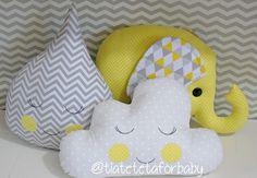Kit almofada nuvem, gota e elefantinho
