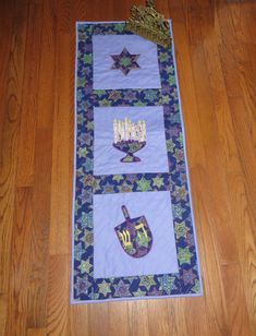 Table Runner or Wall Hanging Appliqued with Menorah by GALsews, $60.00