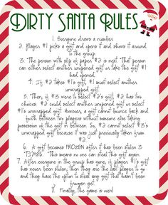 Rules for Dirty Santa