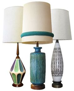 MID CENTURY MODERN CERAMIC POTTERY LAMPS