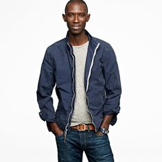 Victura Jacket. JCrew. Simple, classic and thanks God... navy! why do black guy alaways gotta be so freaking atrractive?