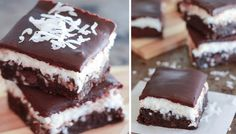 Chocolate Coconut Brownies - Fudgy brownies topped with creamy coconut and finished with chocolate ganache. Coconut Brownies, Fudgy Brownies, Mounds Cake, Brownie Toppings, Muffin Tins, Vanilla Sugar, Chocolate Ganache, Cupcake Recipes, Quick Easy Meals