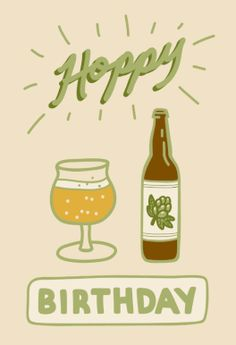 """Birthday Beer"" printable card. Customize, add text and photos. Print for free!"