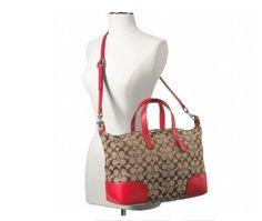 Coach F31841 Hadley Signature Zip BRIGHT RED Bag - Satchel $245