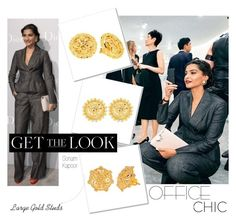 Get the Look:  #SonamKapoor - #OfficeChic : #StudEarrings by rajjewels on #Polyvore
