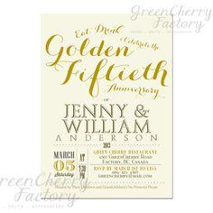 Golden 50th Wedding Anniversary Invitation Idea - font idea
