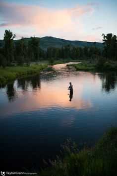 Evening Fly Fishing on Flat Creek in Jackson Hole - Nikon D4 and 35mm 1.4