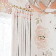 Monika Hibbs Nursery Drapery - Our Winter White House Linen panels with the added loveliness of double grosgrain ribbon trim along the headings and leading edges.  Buy them online today! http://www.qdesigncentre.com/store/product/monikas-nursery