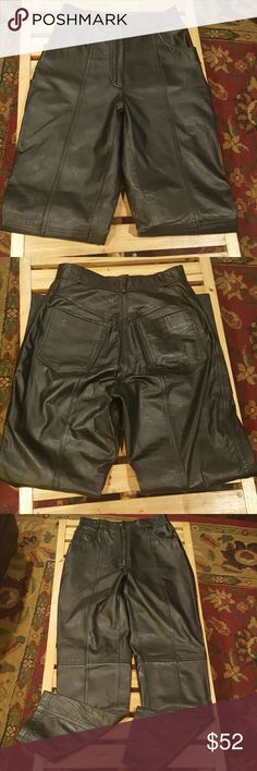 Together! Leather Moto Pants Genuine Leather Moto Style Black Pants. Straight leg. Detailed top stitching, strategically placed, down the center of front and back of pants, as well as across at the knee. Fully lined. EUC Together Pants
