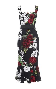 Rose Print Flounce Hem Dress by Dolce & Gabbana for Preorder on Moda Operandi