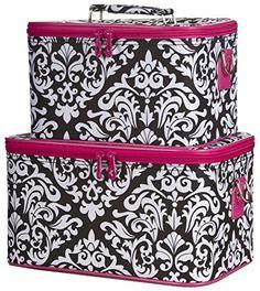Ever Moda Pink Damask Cosmetic Makeup Train Case (2-piece set) >>> Visit the image link more details.