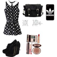 Midnight by penguins-lily on Polyvore featuring polyvore fashion style Poverty Flats adidas Charlotte Tilbury