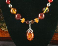 Amber Necklace - Baltic Amber Jewelry - Carnelian Necklace - Amber Pendant - Ancient Jewelry - Ethnic Necklace - Baltic Amber Bead Necklace - Tiger Eye - Sterling Silver Bead - Bali Bead