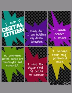 Digital Citizenship posters by Venspired - there are a couple formats on this site.  Great for starting discussions with students.
