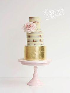 Image result for naked cake with gold leaf