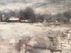 Winter Chill by Bryan Mark Taylor on ArtStation. Winter Art, Painting & Drawing, Landscape Paintings, Chill, Art Prints, Drawings, Artwork, Cityscapes, Graham