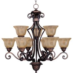The symphony 9-light chandelier features a beautiful Mediterranean inspired style. The sharp angles of the Oil Rubbed Bronze body modernizes and inspires.