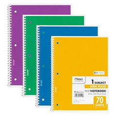 Mead Spiral Notebook 1-Subject, 70-Count, Wide Ruled, COLOR WILL VARY, 4 Pack (72873) Mead http://www.amazon.com/dp/B00D48ZK3W/ref=cm_sw_r_pi_dp_k43Wwb1X0F4WG