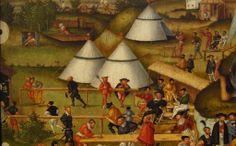 Matthias Gerung (um 1500-1565/70 tätig in Lauingen): Die Melancholie im Garten des Lebens von 1558. Kunsthalle Karlsruhe Inv. Nr. 2619. Detail: Armbrust- und Büchsenschützen.