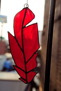 Stained Glass Cardinal Feather