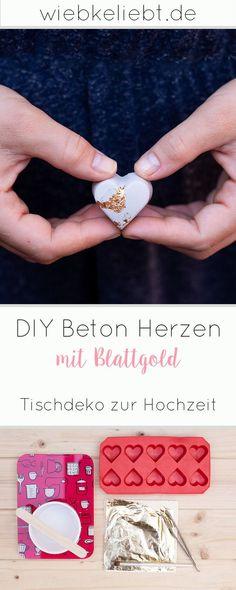 DIY Beton Herzen mit Blattgold – Tischdeko zur Hochzeit Creative DIY decoration idea for crafting. The DIY concrete hearts with gold leaf as table decoration for the wedding can be found on wiebkeliebt. Diy Jewelry Unique, Diy Jewelry To Sell, Diy Jewelry Holder, Diy Jewelry Making, Diy Crafts To Sell, Diy Crafts For Kids, Teen Diy, Diy For Teens, Diy Pinterest