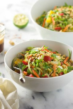 Thai Cucumber Salad with Peanut Chili Vinaigrette is a light and flavorful salad with a sweet and spicy dressing and loaded with vegetables! - With Salt and Wit Summer Salad Recipes, Healthy Salad Recipes, Summer Salads, Vegetarian Recipes, Cooking Recipes, Fast Recipes, Delicious Recipes, Strawberry Poppyseed Salad, Thai Cucumber Salad