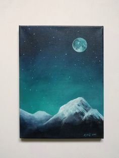 Original painting of the mountains with the night sky. Medium: acrylic on canvas. Canvas size: X time painting Cute Canvas Paintings, Canvas Painting Tutorials, Diy Canvas Art, Canvas Canvas, Original Paintings, Canvas Size, Night Sky Painting, Moon Painting, Time Painting