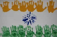 Handprint India Flag - August is Indian Independence Day Bible Crafts For Kids, Projects For Kids, Art For Kids, Activities For Kids, Learning Activities, Happy Independence Day India, India Crafts, World Thinking Day, Indian Flag