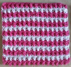 Pebbly Pink and White Striped Dishcloth