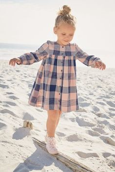 Buy Pink Check Shirt Dress at the Next UK online shop - Baby Dress Little Girl Shoes, Little Girl Fashion, Cute Little Girls, Fashion Kids, Girls Shoes, Trendy Fashion, Fashion Usa, Fashion Trends, Dresses Kids Girl
